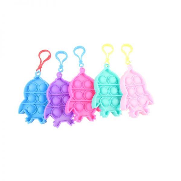 1pc Stress Relief Sensory Toys Bubble Fidget Toy Keychain Charm Pop Fidgeting Reliever Decompression Toys Push 2 - Popping Fidgets
