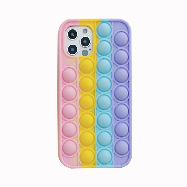 Fashion Rainbow Shockproof Silicone Phone Case For Iphone 11 12 Pro Max 6s 7 8 - Popping Fidgets