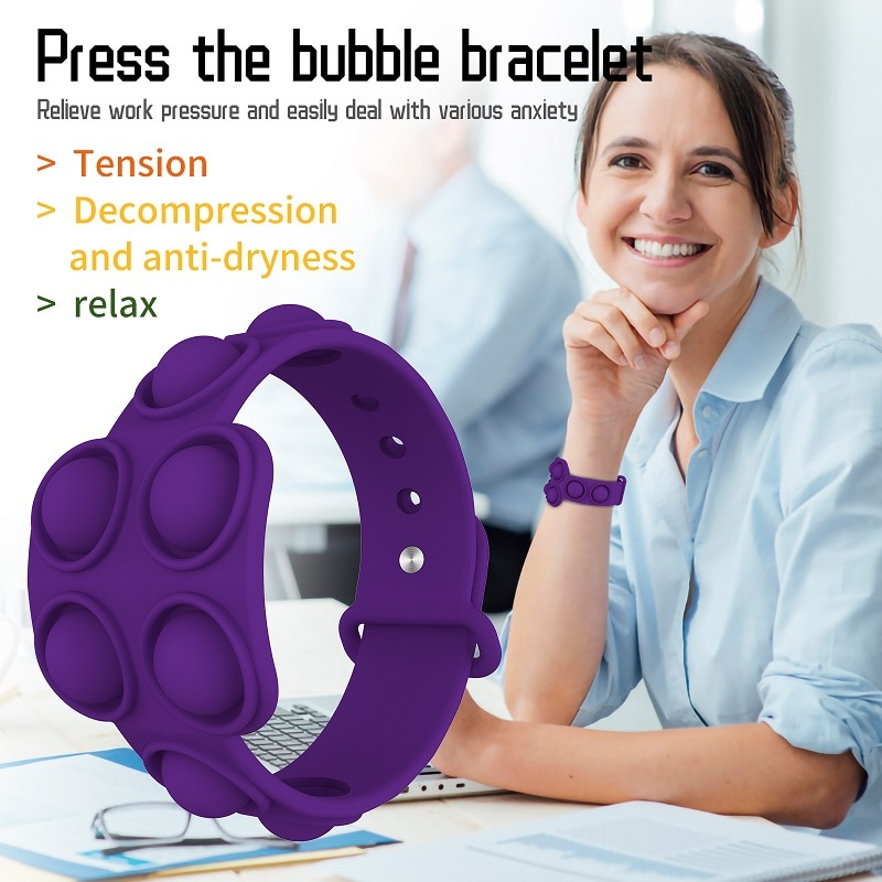 Fidget Portable Dimple Silicone Bracelet Relieves Pressure Pops Figet It Toy Is Nnon Toxic Puzzle Soft 2 - Popping Fidgets