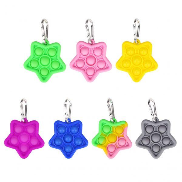 Keychain Pop Fidget It Simple Dimple Toy Sensory Educational Toy Push Bubble Fidget Toys Adult Stress - Popping Fidgets