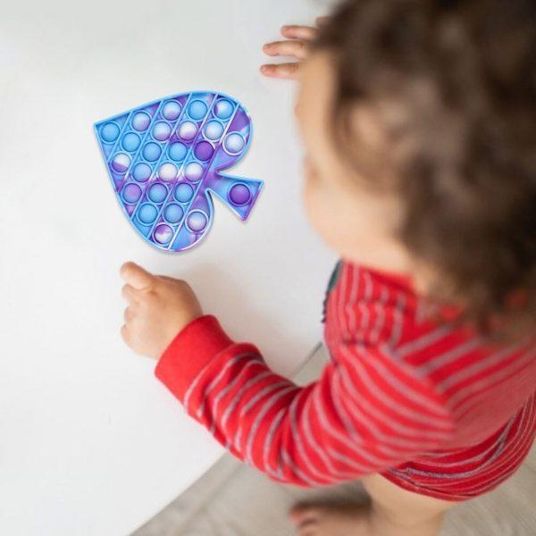 Pop Fidget Reliver Stress Toys Spades Shape Push It Bubble Antistres Popit Poppit Sensory Toy to 3 - Popping Fidgets