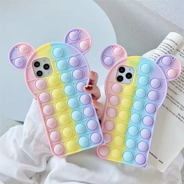 Rainbow Bubble phone case for iphone6 7 8 xs xr 11 12pro se mini Reliver Stress - Popping Fidgets