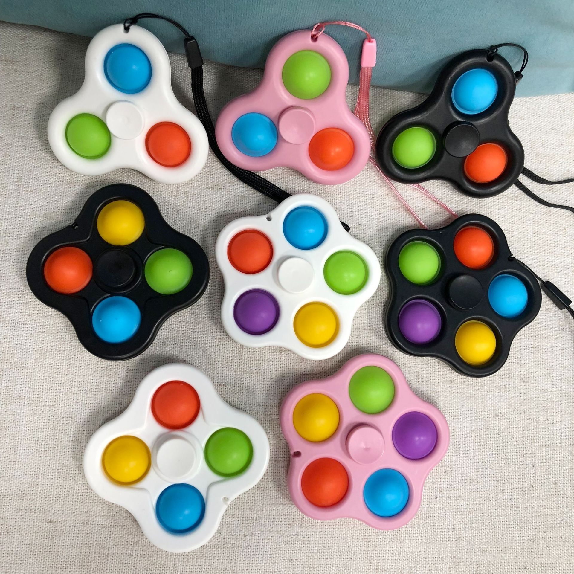 Simple Dimple Spinner Push Pop Fidget Toy Anti Stress Toy Anxiety Relief Toy Pop Sensory Toy - Popping Fidgets
