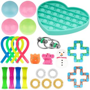 20 24 Pack Fidget Sensory Toy Set Stress Relief Toys Autism Anxiety Relief Stress Pop Bubble - Popping Fidgets