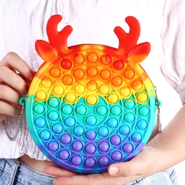 2021 New Cute Bag Fidget Toys Reliver Stress Toy Rainbow Push Bubble Simpl Dimmer Antistress Toy 5 - Popping Fidgets
