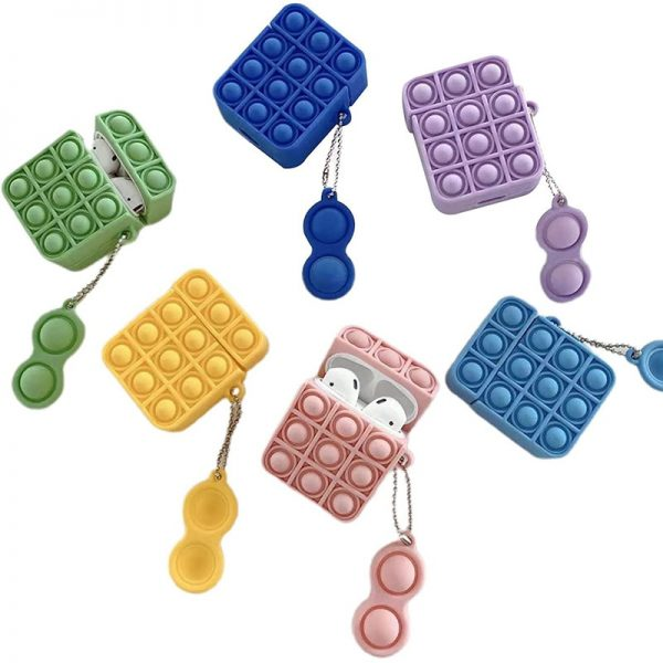 Plain Bubble Pop Fidget Sensory Toys Silicone EarPods Case Box Cover With Simple Dimple Keychain For 1 - Popping Fidgets