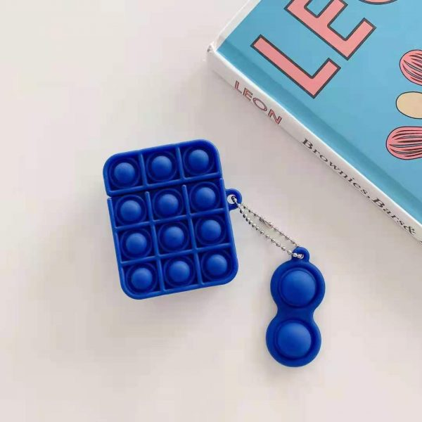 Plain Bubble Pop Fidget Sensory Toys Silicone EarPods Case Box Cover With Simple Dimple Keychain For 4 - Popping Fidgets
