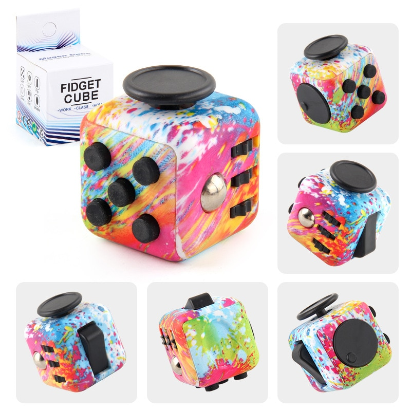 colourful cube fidget cube toy 8433 - Popping Fidgets
